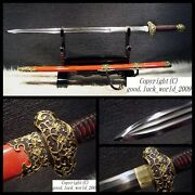 Boutique Chinese Sword Copper Fitting Clay Tempered T10 Steel Genuine Ray Skin