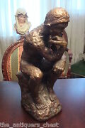 Vintage Marwal Chalkware Statue The Thinkerle Penseur M. Lucchesi[7]