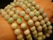 33 / 8mm Vintage Chinese Jade Beads / 14k Yellow Gold Necklace