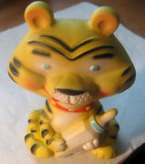 Vintage Alan Jay Andndash Made In Usa Andndash Clarolyte Tiger With Baby Bottle Squeaker Toy