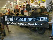 Huge St. Paul Harley-davidson Buell Made In America Banner Poster Sign 5374