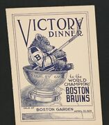 Scarce 1939 Boston Bruins Victory Dinner Program Signed By Lionel Hitchman