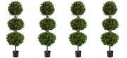 4 Artificial 56 Boxwood 3 Ball Topiary Tree W Pot In Outdoor Plant Patio Fake