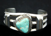 Navajo Bracelet Rare White Dry Creek Turquoise And Sterling Silver Indian