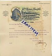 1909 Letterhead William Steiner Sons New York Lithographer Of Wine And Cigar Label