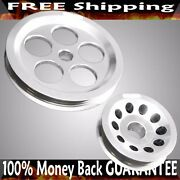Silver Power Steering+alternator Pulley Set For 94-01 Integra 88-00 Civic B16a