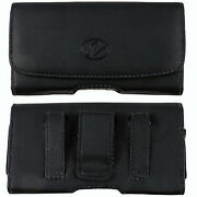Black Leather Case Holster Fits W/ Silicone Case On For Lg Cell Phones
