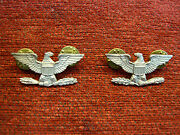 U.s. Army Pair Of Collar Eagles - Nice - 1.20 Silver Filled