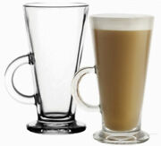 6 X 240ml Glasses Glass Cups Mugs For Coffee / Tea / Latte / Cappucino And Spoons