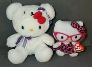 Hello Kitty Plush Dolls Rare Bear Outfit. Hot Pink Glasses And Animal Print Bow.