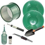 Green Mini Gold Classifier Screen And Gold Pan Panning Kit 10 And 8 Pans