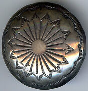 Extra Large Vintage Navajo Indian Silver Stamped Designs Button