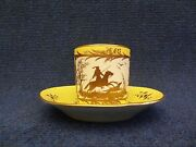 Arras Porcelain Cup And Saucer Yellow Ground And Gilded Decoration Hunting Panels
