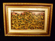 Fabulous And Rare Framed Chinese Gilt Pierced Wood Temple Art Plaque - Circa 1890