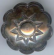 Large Vintage Navajo Indian Silver Stamped Star Scalloped Edges Button