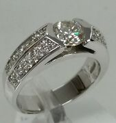 14k White Gold Engagementand Wedding Ring,1.25cttw,0.95ct Cnt.0.35 European Style