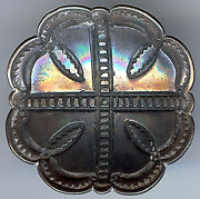 Extra Large Vintage Navajo Indian Silver Stamped Concave Scalloped Edges Button