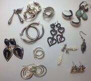 12 Pairs Of Vintage Sterling Silver Earrings Lot Mixed Stones Wholesale Deal