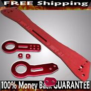 Red Fandr Tow Hook+ Subframe Brace Combo For 92-95 Honda Civic/93-97 Del Sol