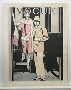Large Vintage Vogue Lithograph By Leslie Andrews. Cover Art Deco Signed Rare
