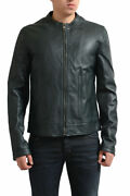 Dolce And Gabbana Menand039s Dark Green 100 Lambskin Leather Full Zip Jacket Us S L