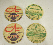 Vintage Lot Of 4 Cardboard Bottle Caps Middlebury Dairy Ind. And Grade A Raw Milk