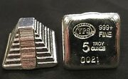 5oz Yps Aztec Pyramid 999+ Fine Silver Bullion Bar Yeager's Poured Silver
