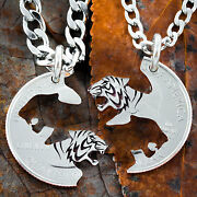 Tiger Best Friend Necklace Set Connect Tigress Handcut And Engraved Jewelry
