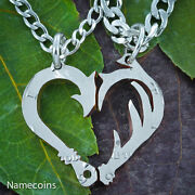 Fish Hook And Antler Necklace Set Making A Heart, Country Couples Jewelry