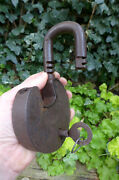 Vintage Large Padlock With One Key, Working Order Unique Shape Heavy Patent
