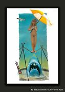 4th Of July Sale - Large Jaws Disney Haunted Mansion Canvas Stretching Shark Art