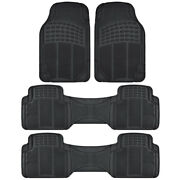 3 Row Van Suv Floor Mats All Weather Rubber Protection 4 Piece Black Trimmable