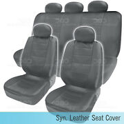 Pu Synthetic Leather Gray Seat Cover Car Genuine Leather Feel Front And Rear Set