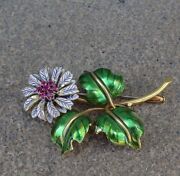 Stunning Vintage 18k Yellow Gold Enameled Floral Ruby Brooch Pin