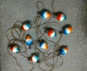 Antique Vntg Christmas Patio Lights Holly In Box Hand Painted 1940and039s Works