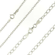 925 Sterling Silver Rhodium Diamond Cut Rolo Link Chain Necklace All Sizes