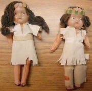 Vintage Native American Celluloid Indian Dolls, Boy And Girl, Cute Japan