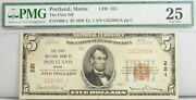1929 5 Dollar Portland Me National Bank Note Fr 1800-1 Pmg Certified Currency