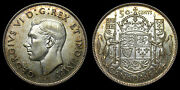 1945 Canada 50 Fifty Cent Piece Toned Au-58 King George Vi Hoof Through 5