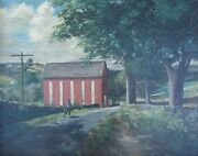 Antique Indiana American Impressionist Painting Red Barn In The Blue Grass Ky