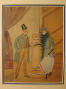 Antique 1893 French Folk Art Primitive Watercolor Painting Signed Translate Wow