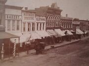 Antique Chariton Ia Barber Pole Horse Trade Sign American Flag Stereoview Photo