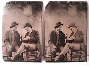 Antique Artistic Young Men Bookends Journalist Take Note Pair Tintypes Photos