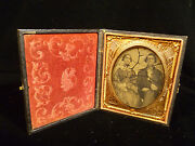 Rare Civil War Soldier Tin Type Photograph Case W/ Flags Ship And Cannon - 1862