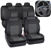 Pu Leather Car Seat Covers And Massage Grip Steering Wheel Cover Black/gray