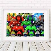Lego The Hulk - Marvel Poster Picture Print Sizes A5 To A0 Free Delivery