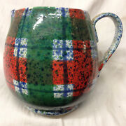 Dept 56 Italy Tartan Plaid Christmas Pitcher Red Green Department Holiday 3.5 Qt