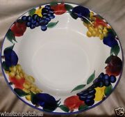 Dansk Italy Tuscany Pasta Serving Bowl 13 1/2 Red Yellow And Purple Fruits