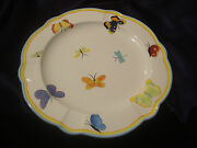 Dept 56 Department Round Platter Plate Butterflies Bugs Insects Blue Trim Bee