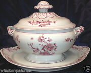 Mottahedeh Vista Alegre Pink Peony Tureen And Lid With Under Plate 98 Oz Pink Trim